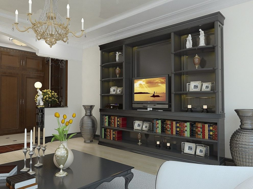 Ac Wall Units   Contemporary Living Room Also Bookcase Built in Shelving Chandelier Dark Coffee Table Light Tone Wood Flooring Media Storage Moulding Open Shelving Tv Wall Unit White Rug White Walls