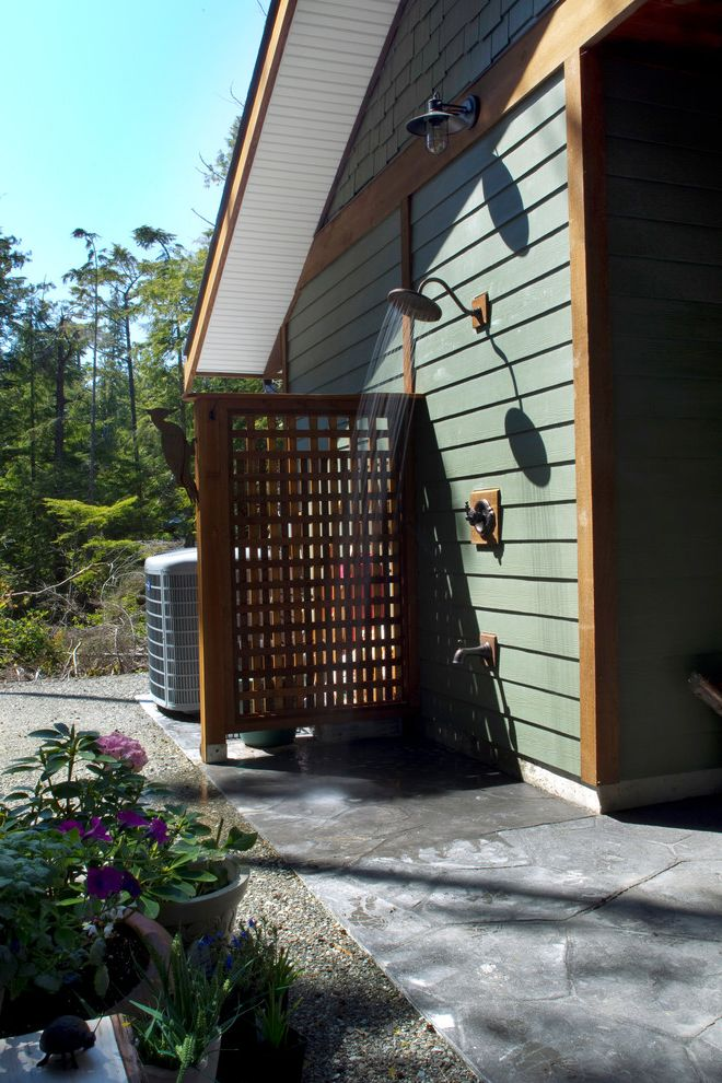 Ac Wall Units with Traditional Patio Also Gravel Green Siding Outdoor Shower Patio Wood Fence Wood Screen Wood Siding