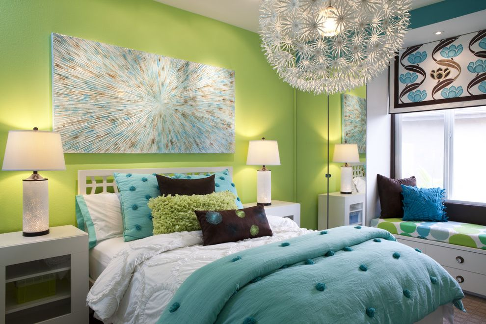 Aj Madison Reviews   Contemporary Kids  and Bedding Bedroom Bright Colors Built in Window Seat Crystal Crystal Vase Geometric Mirror Large Wall Art Lime Green Wall Nightstand Pendant Light Pillows Table Lamp Turquoise Bedding White Bed Window Treatment