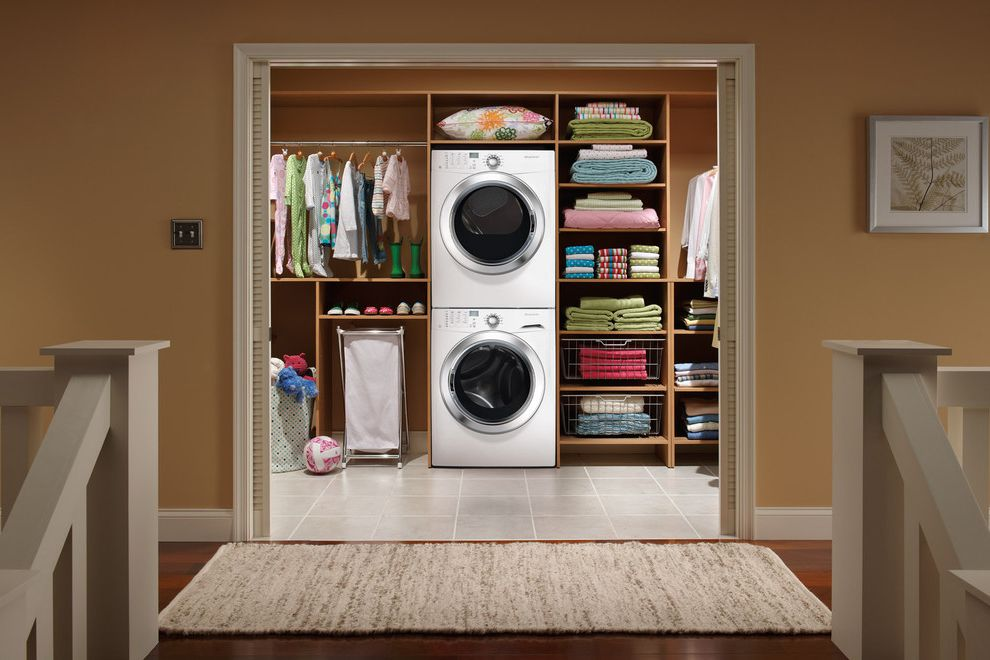 Aj Madison Reviews   Modern Laundry Room Also Beige Brown Ceramic Tiles Earth Tones Framed Art Hardwood Flooring Light Wood Medium Wood Open Cabinets Open Storage Simple Sliding Doors Tan White Wide Entrance Wire Baskets Woven Area Rug Woven Rug