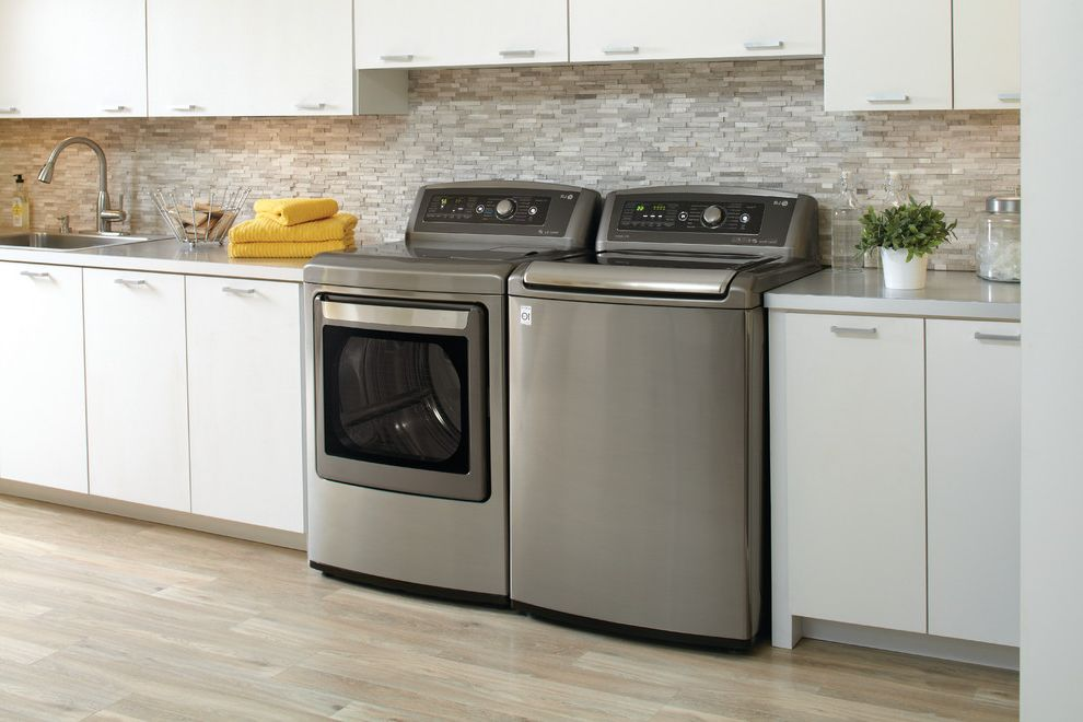 Aj Madison Reviews with Modern Laundry Room  and Contemporary Laundry Room Grey Split Face Stone Mosaic Backslpash Lg Dlgx5681v Lg Wt5680hva