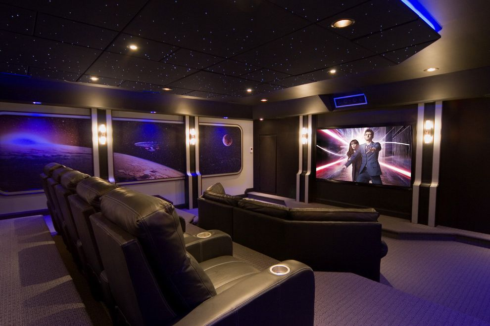 All Star Limo with Contemporary Home Theater  and Ceiling Lighting Ceiling Treatment Drop Ceiling Home Theater Recessed Lighting Reclining Chairs Sconce Screening Room Stadium Seating Wall Art Wall Decor Wall Lighting