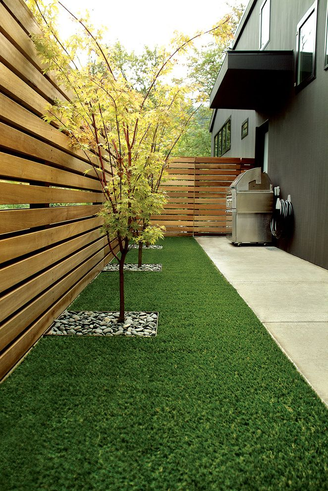 Artificial Turf Cost Per Square Foot   Contemporary Landscape  and Chartreuse Foliage Concrete Horizontal Fence Japanese Maple Path River Rock Side Yard Walkway Wood Fence