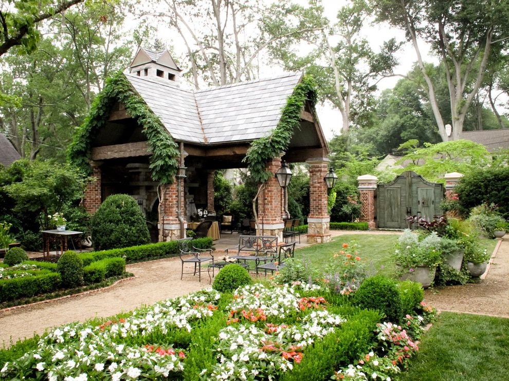 Ashley Furniture Greenville Sc   Traditional Landscape Also Brick Columns Climbing Plants Container Plants Estate Flower Beds Garden Gate Gazebo Grass Lanterns Lawn Outdoor Lighting Path Patio Furniture Potted Plants Turf Vines Walkway