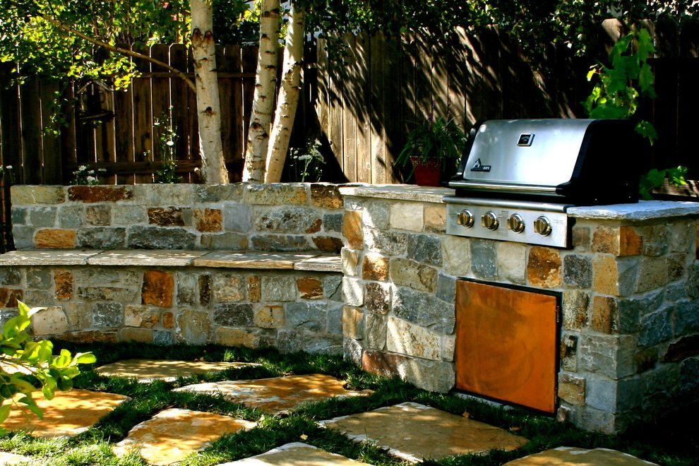 Bar B Que Grills   Contemporary Landscape Also Grill Outdoor Kitchen Patio Pavers Planting Between Pavers Small Space Garden Stone Stone Bbq Stone Bench Stone in Lawn Stone Seat Wall