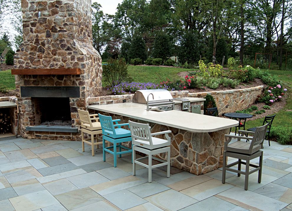 Bar B Que Grills   Farmhouse Patio  and Flagstone Pavers Grass Grill Lawn Outdoor Fireplace Outdoor Kitchen Stone Chimney Stone Wall Turf Wood Bar Stools