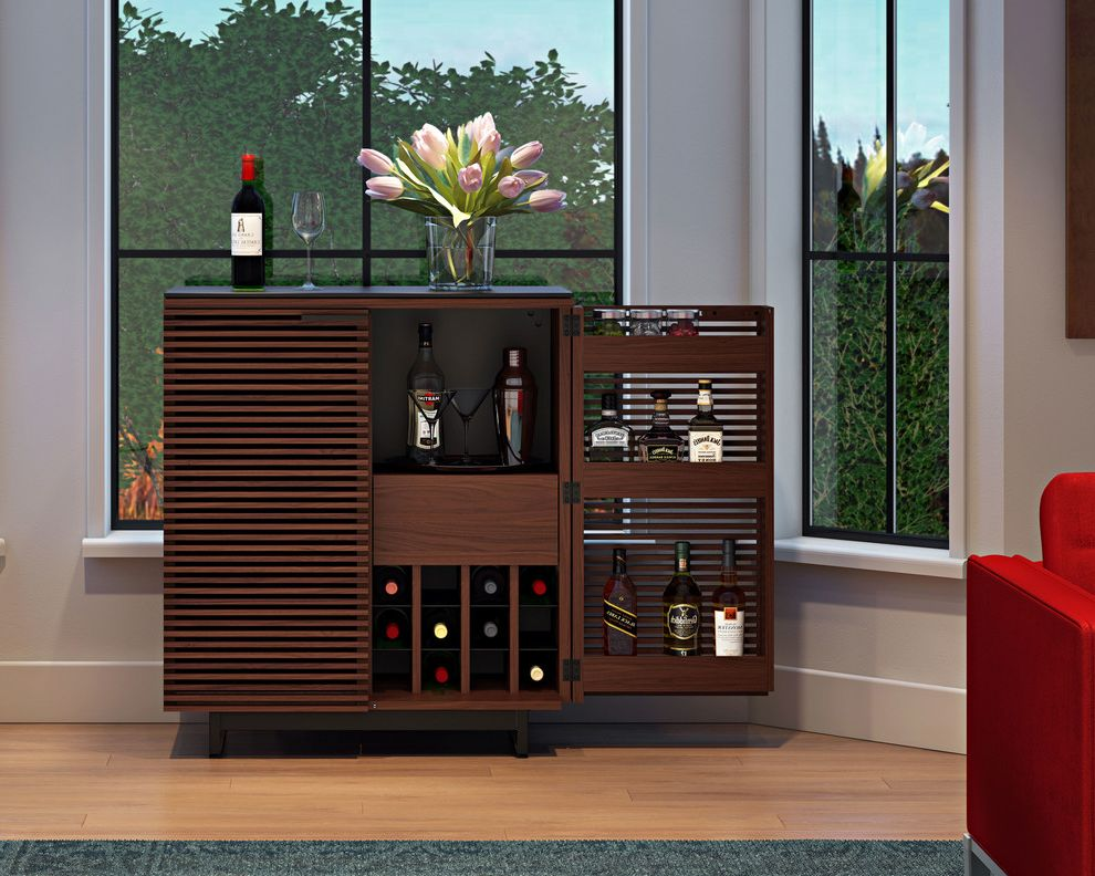 Bartender Supplies   Contemporary Home Bar Also Gray Rug Liquor Cabinet Red Chair Wood Flooring Wood Slats