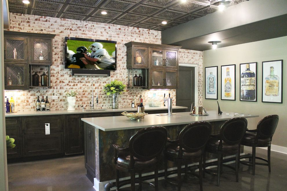 Bartender Supplies with Traditional Home Bar Also Accent Lighting Bar Sinks Classic Design Concrete Polished Floor Entertaining Home Keg Kegerator Mouser Cabinets Ornate Details Quartz Semi Custom Cabinetry Traditional Design