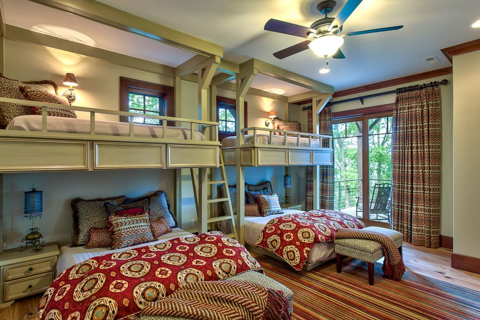 Bed Sizes in Order   Traditional Bedroom  and Animal Print Balcony Beds Bedside Table Bunk Beds Bunk Room Bunks Custom Exotic Glass Doors Herringbone Kids Ladder Layered Medallion Nightstand Printed Drapes Reading Sconce Red Rugged Striped Rug Wood Trim