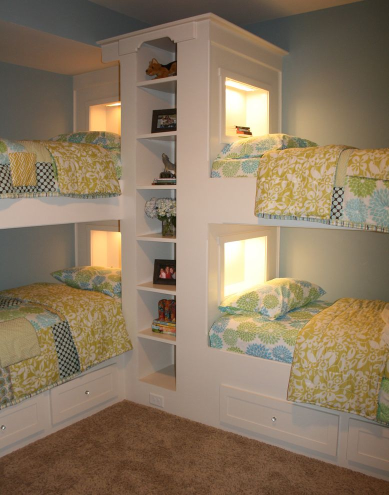 Bed Sizes in Order   Traditional Kids  and Bedroom Bookcase Bookshelves Built in Beds Built in Shelves Bunk Beds Floral Bedding Shared Bedroom Under Bed Storage White Wood