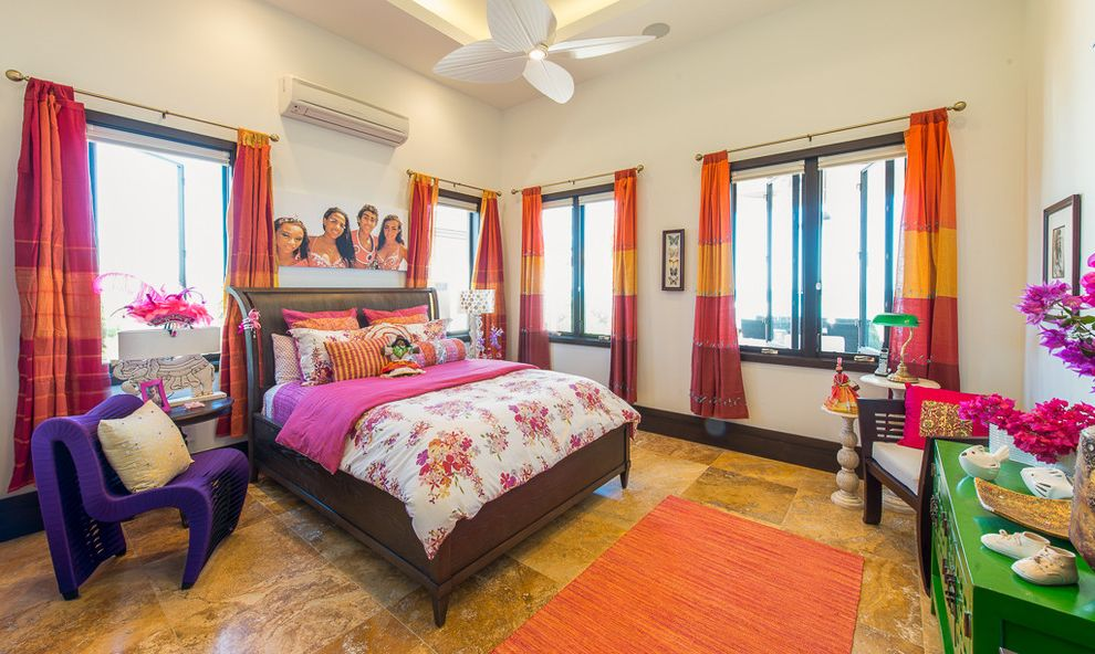 Belt Driven Ceiling Fans   Tropical Kids  and Antigua Caribbean Ceiling Fan Colorful Dark Casing Dark Stained Wood Floral Fuchsia Green Hot Pink Orange Photography Purple Stone Tile Floor Striped Curtains Tray Ceiling Tropical West Indies White Walls