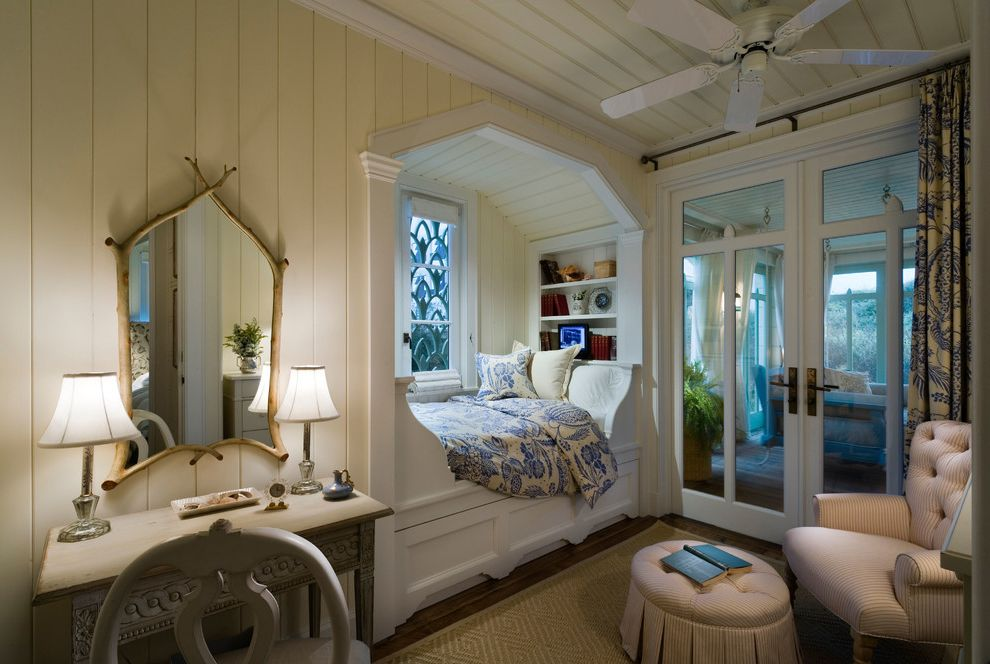 Belt Driven Ceiling Fans with Beach Style Bedroom  and Bed Alcove Built in Bed Built in Shelves Ceiling Fan Diamond Rug Framed Mirror French Doors Glass Doors Porch