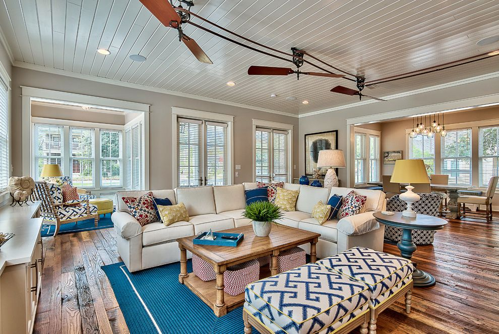Belt Driven Ceiling Fans with Beach Style Living Room  and Beach Style Blue Area Rug Ceiling Fan Round Side Table Rustic Tongue and Groove Ceiling White Table Lamp