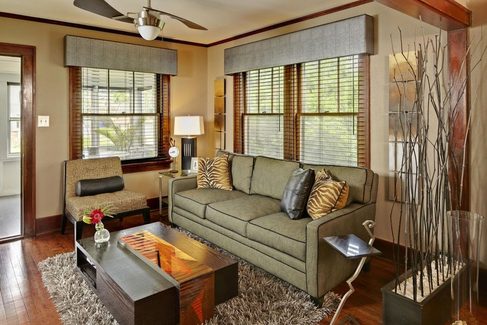 Belt Driven Ceiling Fans with Modern Living Room  and Art Beige Walls Blinds Box Valance Ceiling Fan Dark Stained Wood Flokati Area Rug Pillows Piping Sofa Window Treatment Wood Floor Wood Trim