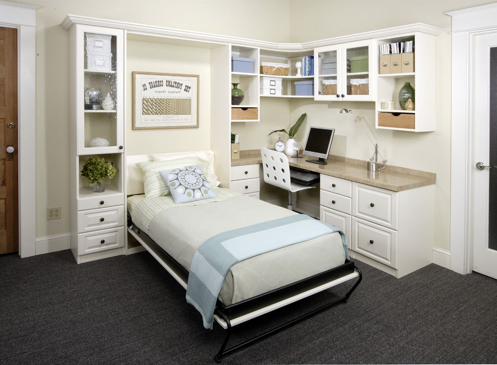 Best Fold Away Bed   Transitional Home Office  and Built in Desk Home Office Murphy Bed Wall Bed