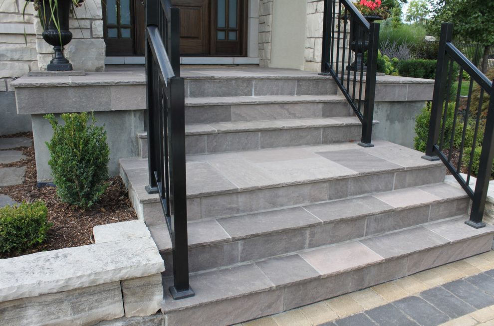 Blue Max Materials   Contemporary Staircase  and Brown Wave Flagstone Oakville Stone