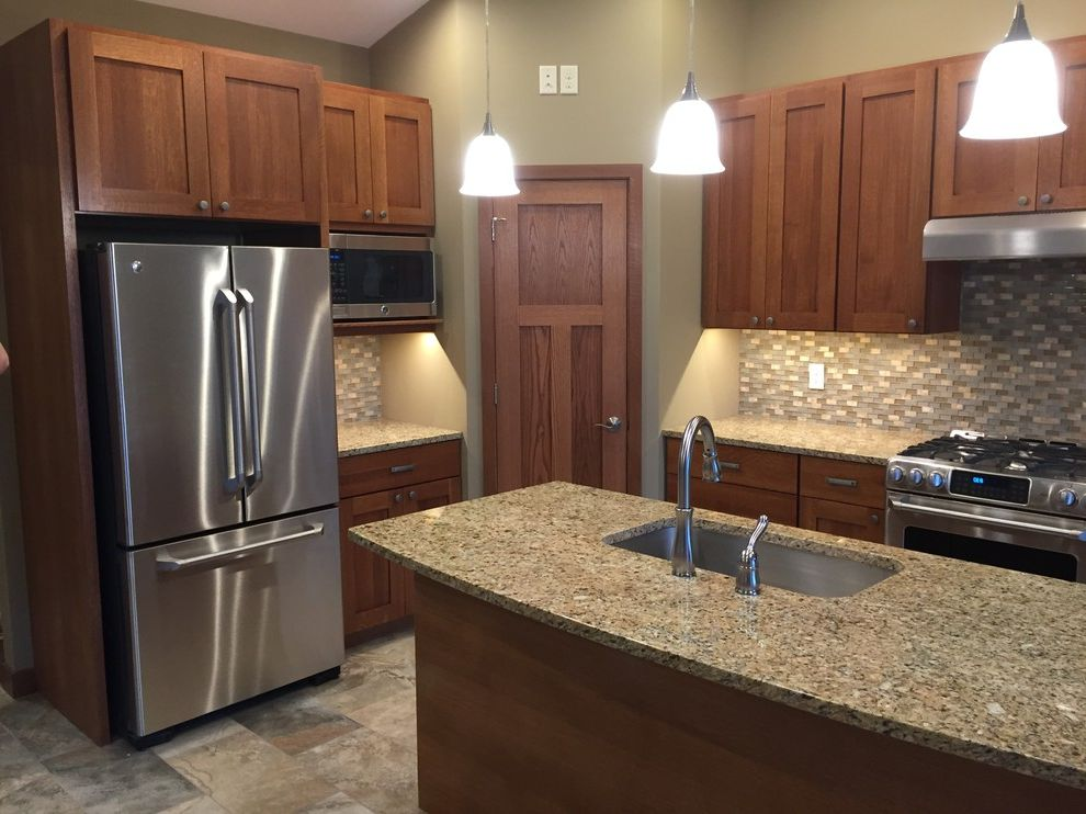 Blue Max Materials   Traditional Kitchen  and Hanging Lights Kitchen Island Pantry Tile Backsplash Wood Cabinets