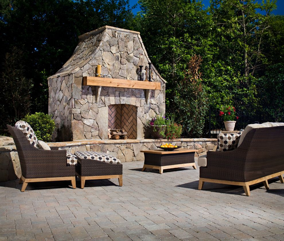 Blue Max Materials   Traditional Patio Also Belgard Pavers Brown Fireplace Patio Polka Dots Potted Plants Sitting Area Stone Wood Mantel Woven Outdoor Furniture