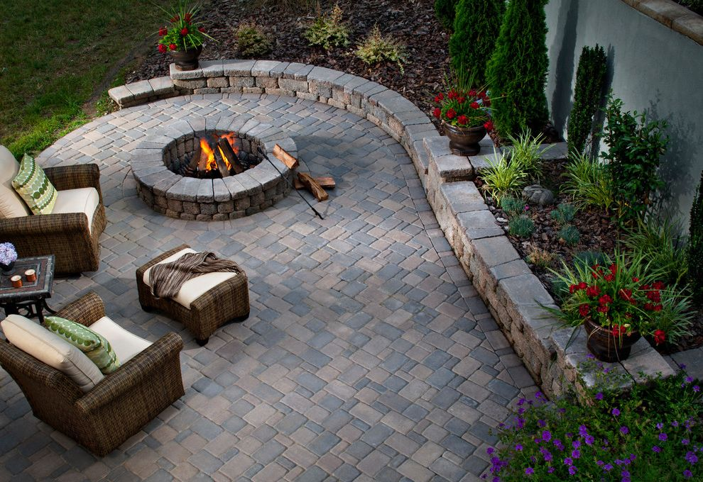 Blue Max Materials   Traditional Patio Also Fire Pit Retaining Wall