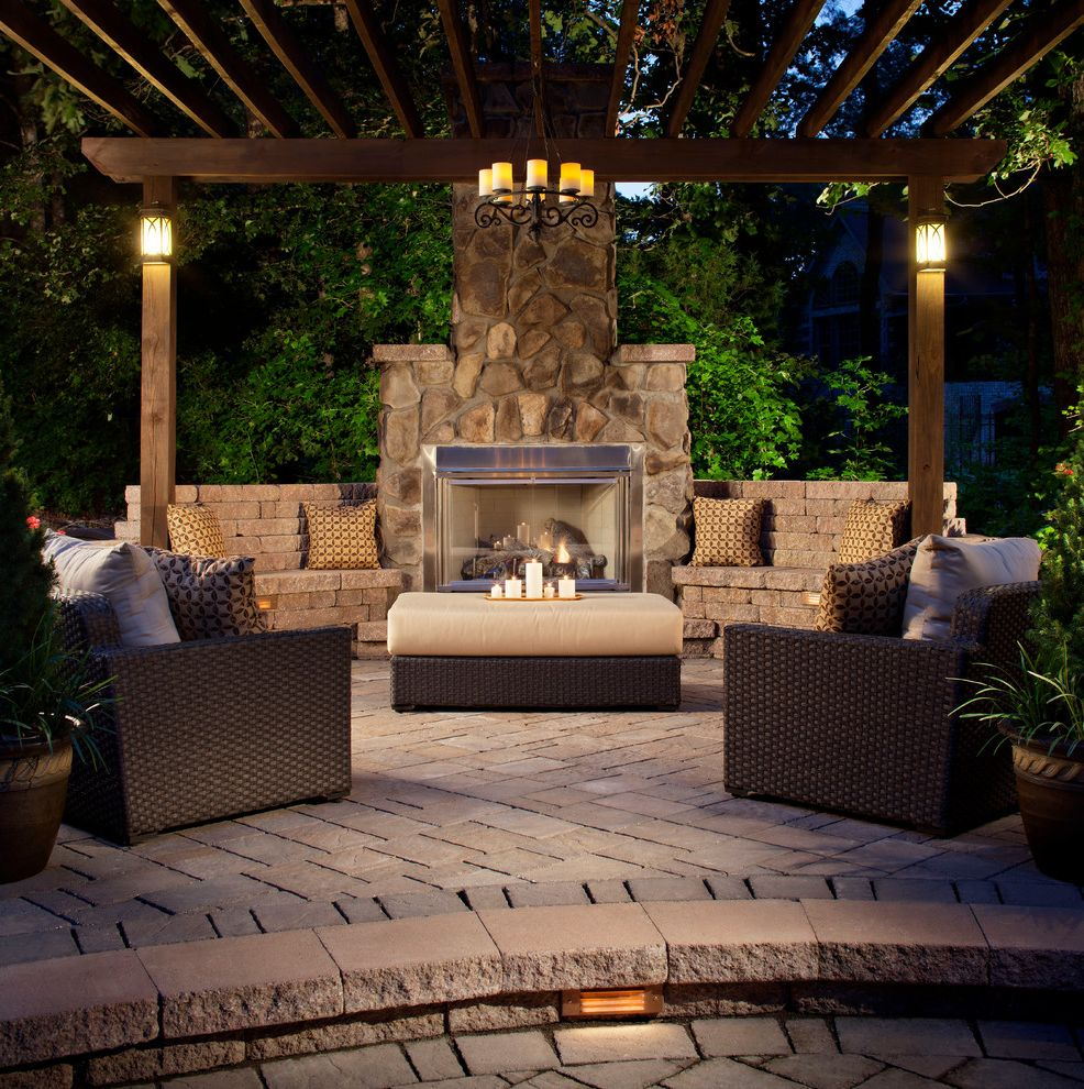 Blue Max Materials   Traditional Patio  and Arbor Belgard Block Belgard Pavers Fireplace Patio Sitting Area Stone