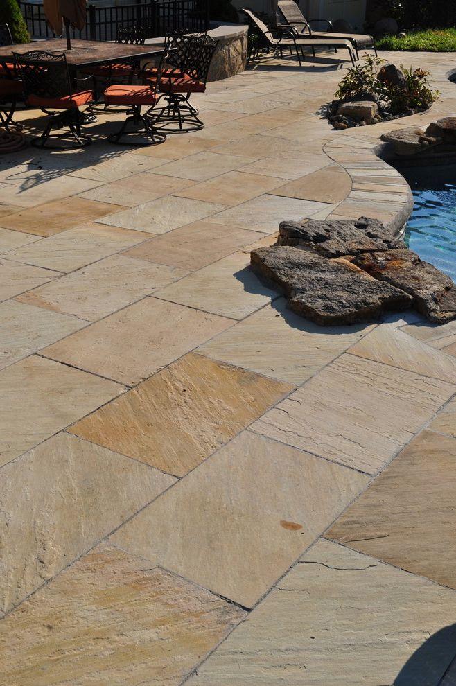Blue Max Materials with Contemporary Pool Also Churchill Buff Flagstone Oakville Stone