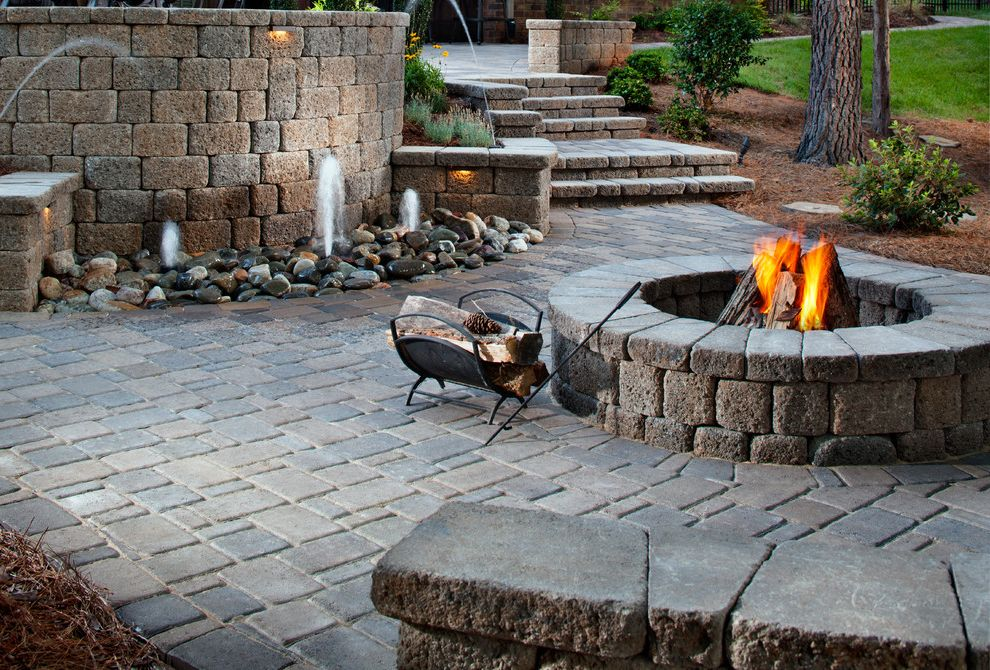 Blue Max Materials with Traditional Patio Also Fire Pit Water Feature