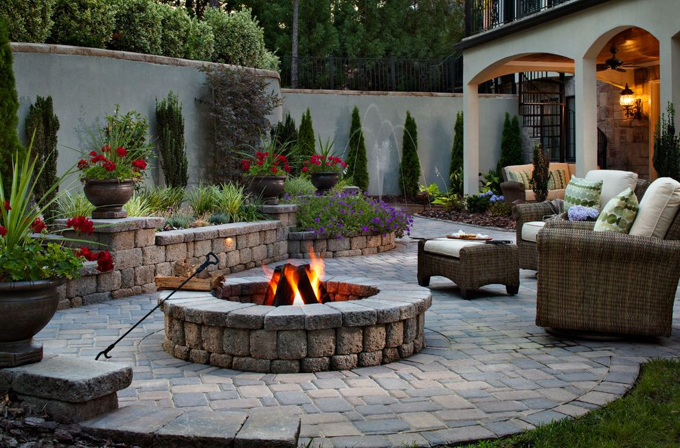 Blue Max Materials with Traditional Patio Also Fire Pit
