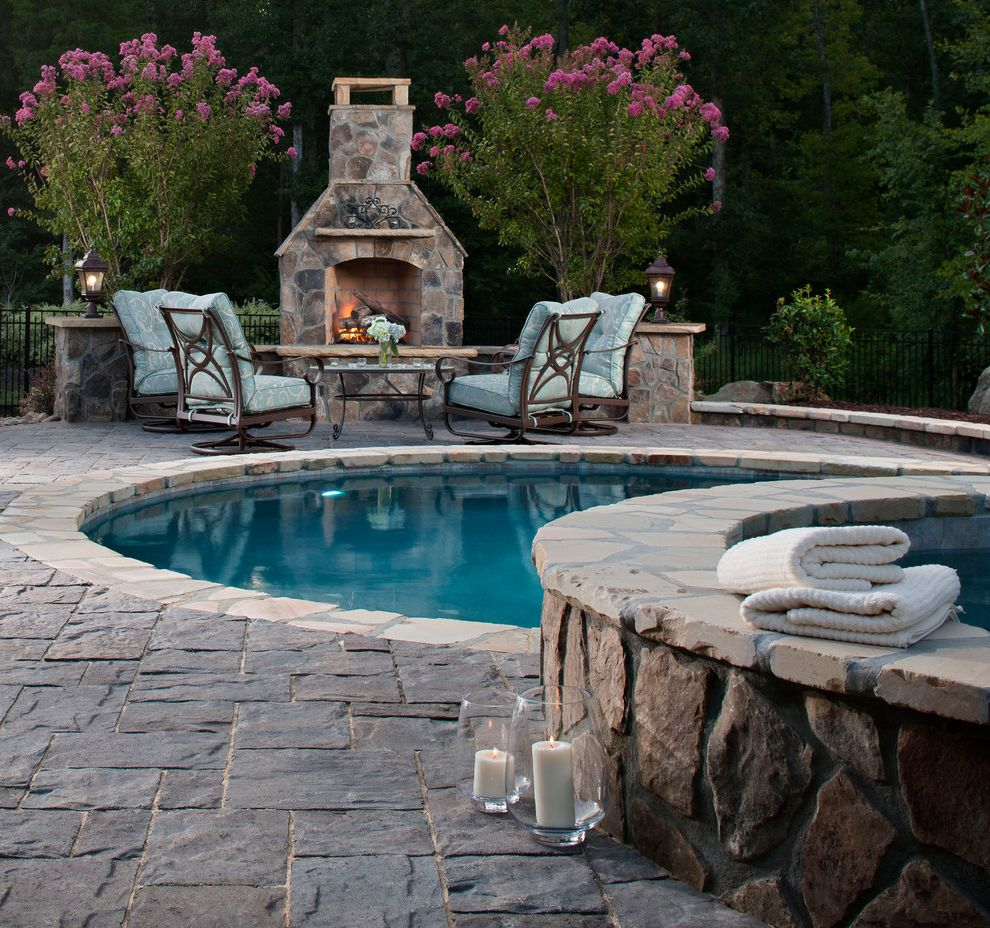 Blue Max Materials with Traditional Pool  and Fireplace Pavers Spa Stone
