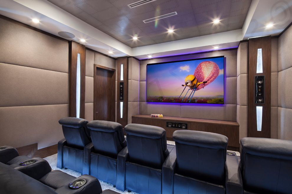 Boca Raton Movie Theater   Modern Home Theater  and Built in Speakers Dark Wood Grey Wallpaper Home Theater Seating Leather Recliner Theater Seating Upholstery Fabric Wall Lighting Wallpaper