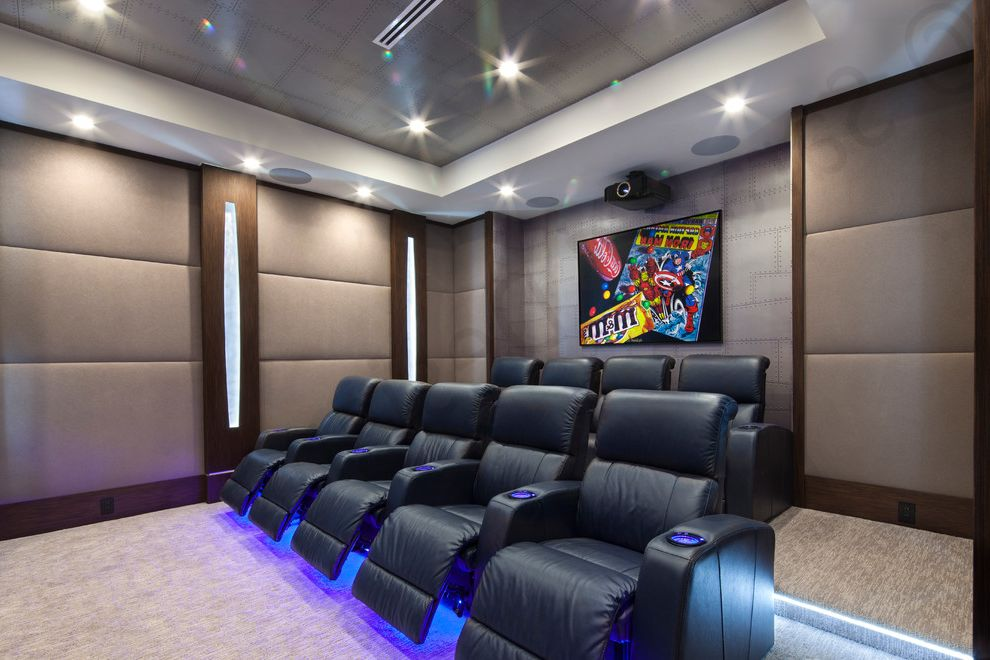 Boca Raton Movie Theater with Modern Home Theater Also Built in Speakers Dark Wood Grey Wallpaper Home Theatre Seating Leather Recliner Theater Seating Upholstery Fabric Wall Art Wall Lighting Wallpaper