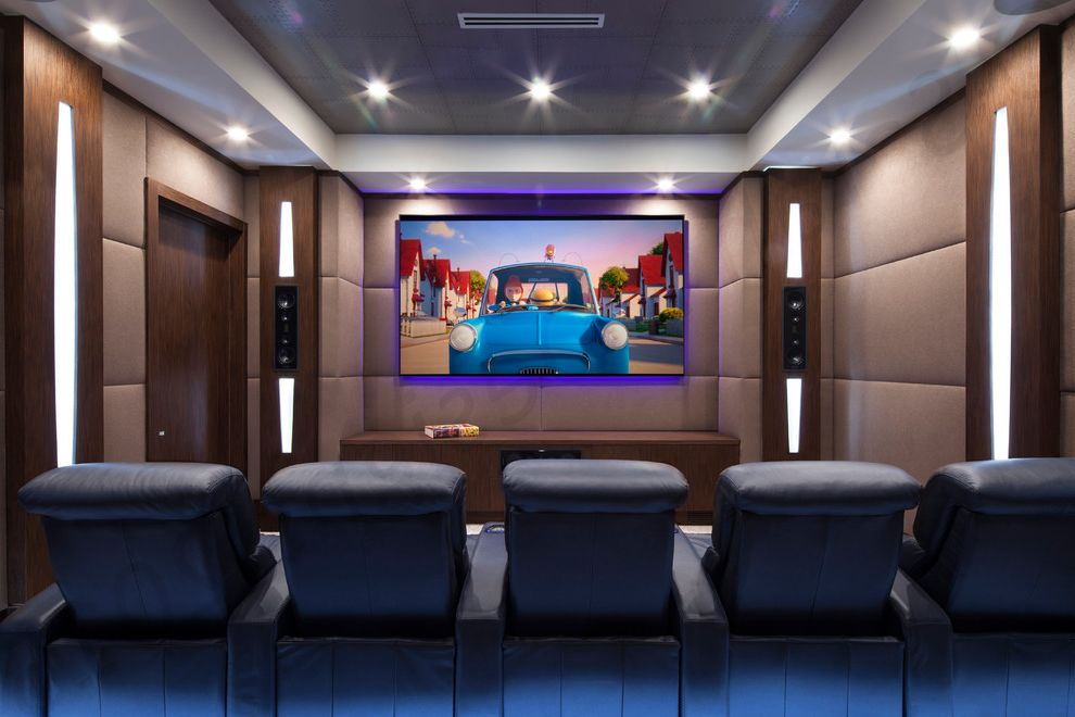 Boca Raton Movie Theater With Modern Home Theater And Grey Wallpaper Home Theatre Seating Leather Recliner Theater Seating Upholstery Fabric Wall Art Wallpaper Finefurnished Com