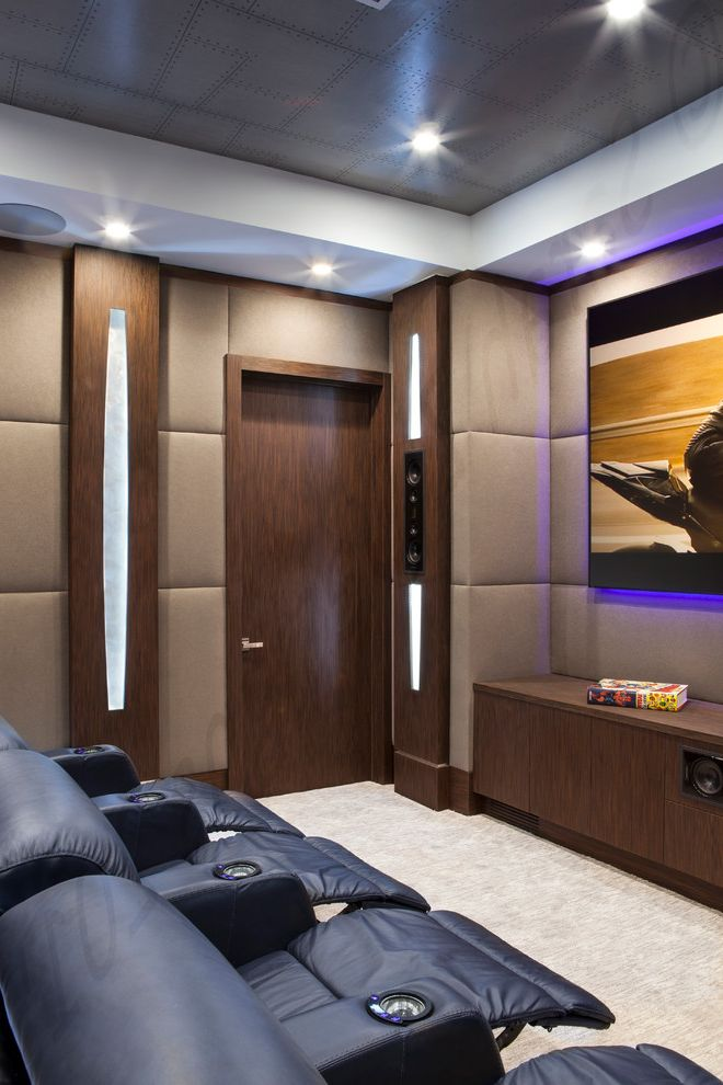 Boca Raton Movie Theater with Modern Home Theater  and Built in Speakers Dark Wood Grey Wallpaper Home Theater Seating Leather Recliner Theater Seating Upholstery Fabric Wall Lighting Wallpaper