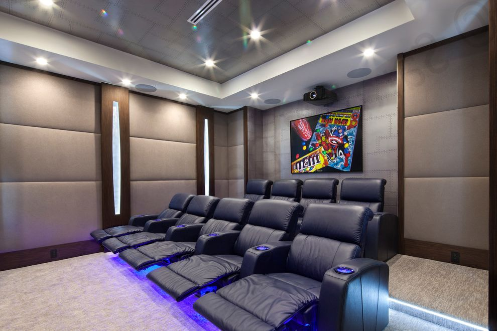 Boca Raton Movie Theater with Modern Home Theater  and Built in Speakers Dark Wood Grey Wallpaper Home Theatre Seating Leather Recliner Theater Seating Upholstery Fabric Wall Art Wall Lighting Wallpaper