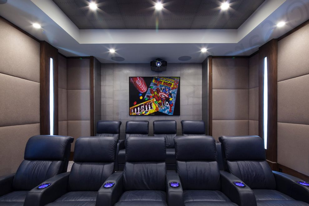 Boca Raton Movie Theater with Modern Home Theater  and Built in Speakers Dark Wood Grey Wallpaper Home Theatre Seating Leather Recliner Theater Seating Upholstery Fabric Wall Lighting Wallpaper