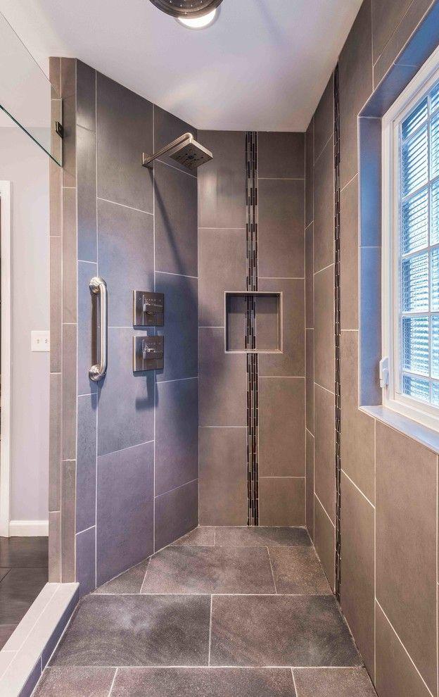 Bricco Harrisburg Pa   Contemporary Bathroom Also Brown Tile Brown Tile Floor Brown Tile Shower Glass Shower Multiple Showerheads Rain Showerhead Shower Bar Walk in Shower
