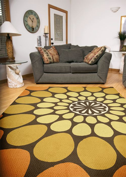 Bright Floral Rug   Midcentury Living Room Also 60s Rug Bright Rug Colourful Rug Floral Rug Midcentury Design Midcentury Modern Rug Orange Rug Patterned Rug Retro Rug Statement Rug Yellow Rug