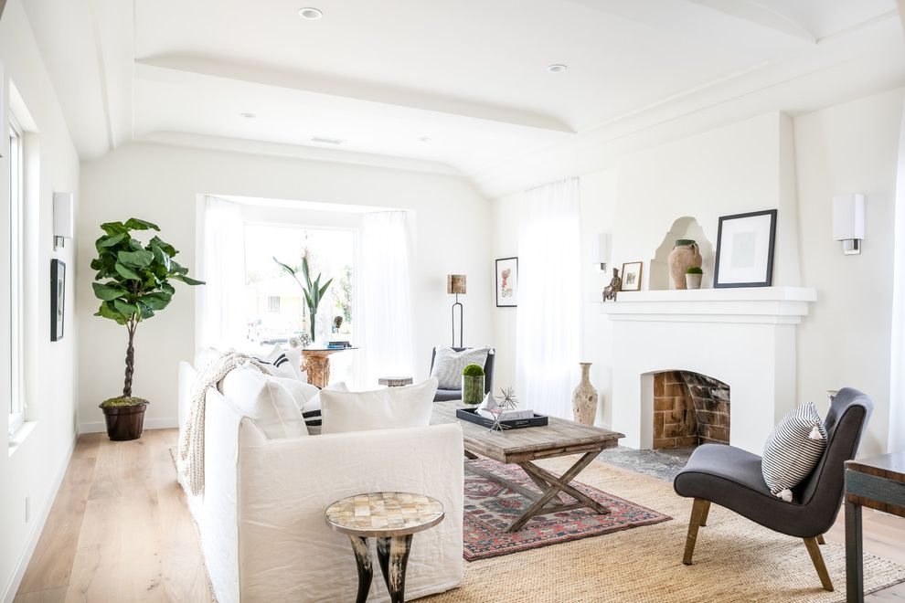 Bright Floral Rug   Transitional Living Room Also Crisp White Gray Lounge Chair Indoor Plants Jute Rug Layered Rugs Red Area Rug White Sofa