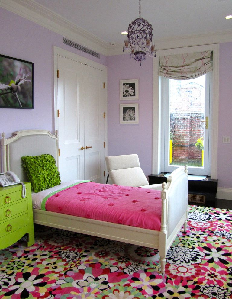 Bright Floral Rug with Contemporary Kids Also Bold Chandelier Dark Stained Wood Floor Floral Print Area Rug High Ceilings Hot Pink Lilac Lime Green Nightstand Lounge Chair Ring Pulls Roman Shade Upholstered Bed White Crown Molding