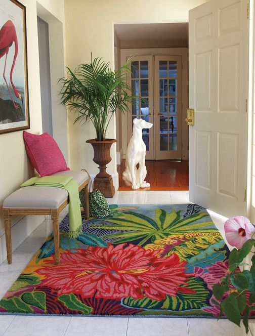 Bright Floral Rug with Modern Entry  and Area Rug Captiva Carpet Company C Entrance Entry Entryway Goodweave Certified Tropical Tufted Rug