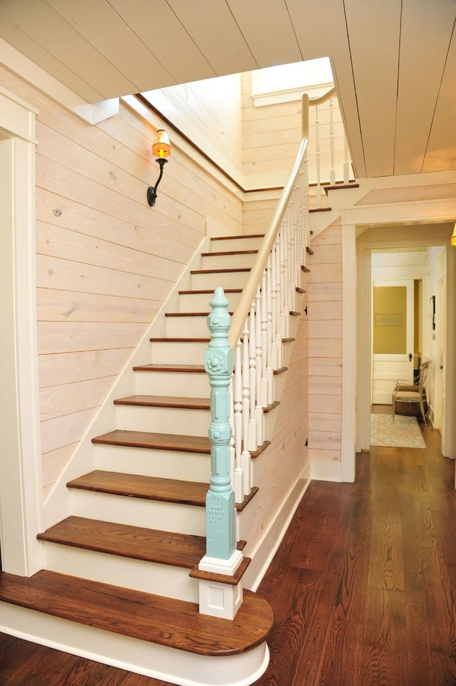 Budget Pembroke Pines   Farmhouse Staircase  and Carpenter Gothic Entrance Farmhouse Ornate Blue Baluster Renovation Restoration Restored Robin Egg Blue Paint Wall Sconce White Painted Tongue and Groove Ceiling White Washed Wood Walls