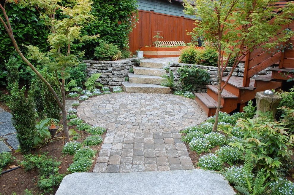 Building a Patio with Pavers   Contemporary Landscape  and Flowers Paver Path Paver Pathway Paver Patio Paver Walkway Shrubs Stacked Stone Wall Stone Patio Stone Pavers Stone Steps Stone Wall Wood Fence Wood Planters Wood Railing Wood Steps