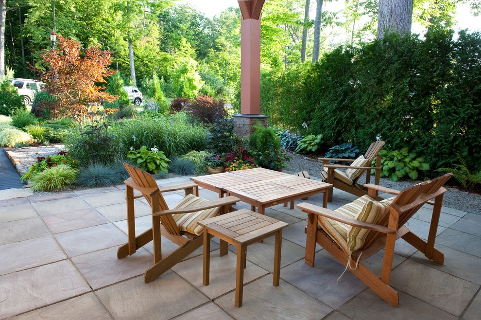 Building a Patio with Pavers with Contemporary Patio  and Mass Planting Outdoor Chairs Outdoor Furniture Patio Furniture Patio Pavers Shrubs Sitting Area Tiles Wood Furniture