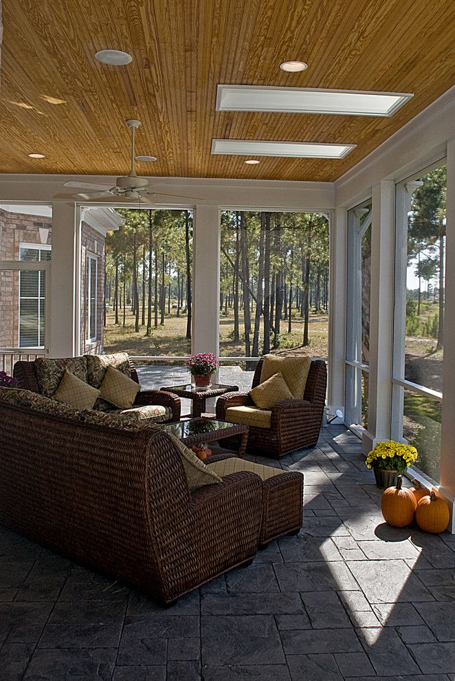 Building a Patio with Pavers with Traditional Porch Also Ceiling Fan Ceiling Lighting Outdoor Cushions Patio Furniture Pumpkins Recessed Lighting Screen Porch Skylights Sunroom White Wood Wicker Furniture Wood Trim