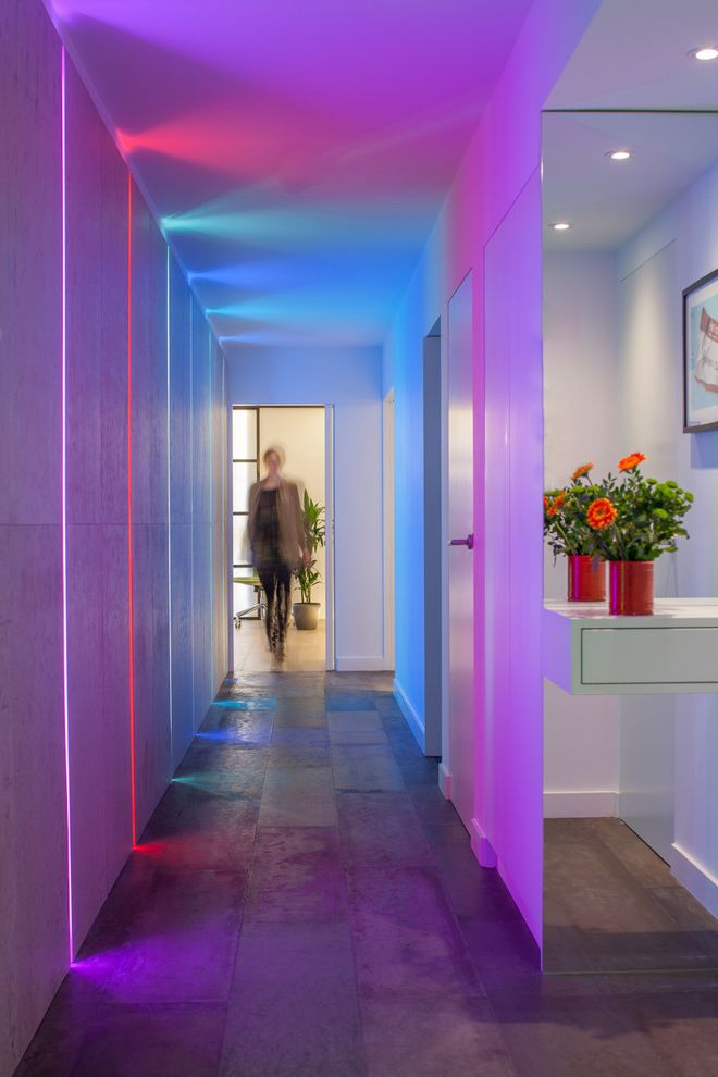 Burns Pest Control   Contemporary Hall  and Bachelor Pad Camden Canalside Colored Lights Concreate Concrete Contemporary Led Lights Light Installation London Minimal Open Plan Warehouse Waterfall Worktop White
