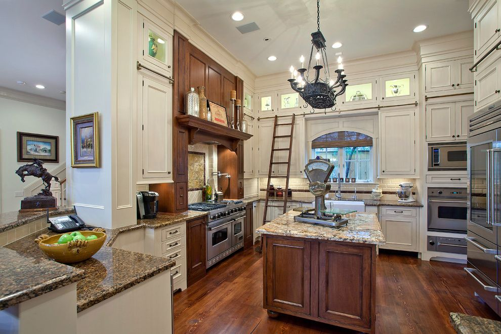 Cabinets to Go with Traditional Kitchen  and Brookhaven Custom Cabinets Design Island Kitchen New Construction Remodel Sliding Ladder Wood Mode Wrought Iron Chandelier