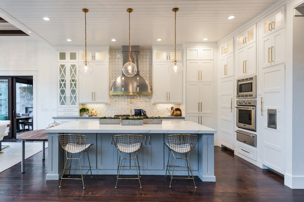 Cabinets to Go with Transitional Kitchen  and Gold Wire Pulls Gray Kitchen Island Shiplap Ceiling Three Gold Globe Pendant Lights White and Gold Backsplash Wire Barstool
