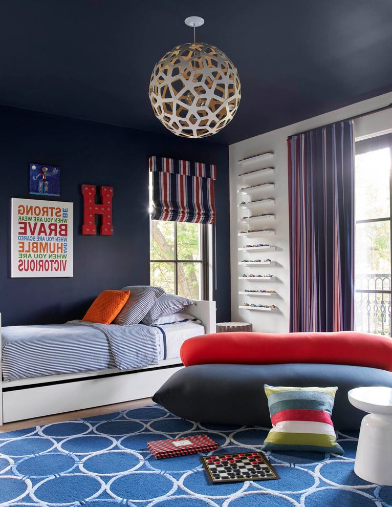 Car Rugs for Toddlers   Contemporary Kids Also Area Rugs Blue Red Curtains Blue Rug Blue Stripe Bedding Blue Walls Boys Bedroom Metal Monogram Letter Quotes Wall Art Red Blue Boys Room Roman Shades Stripe Pillows Twin Bed
