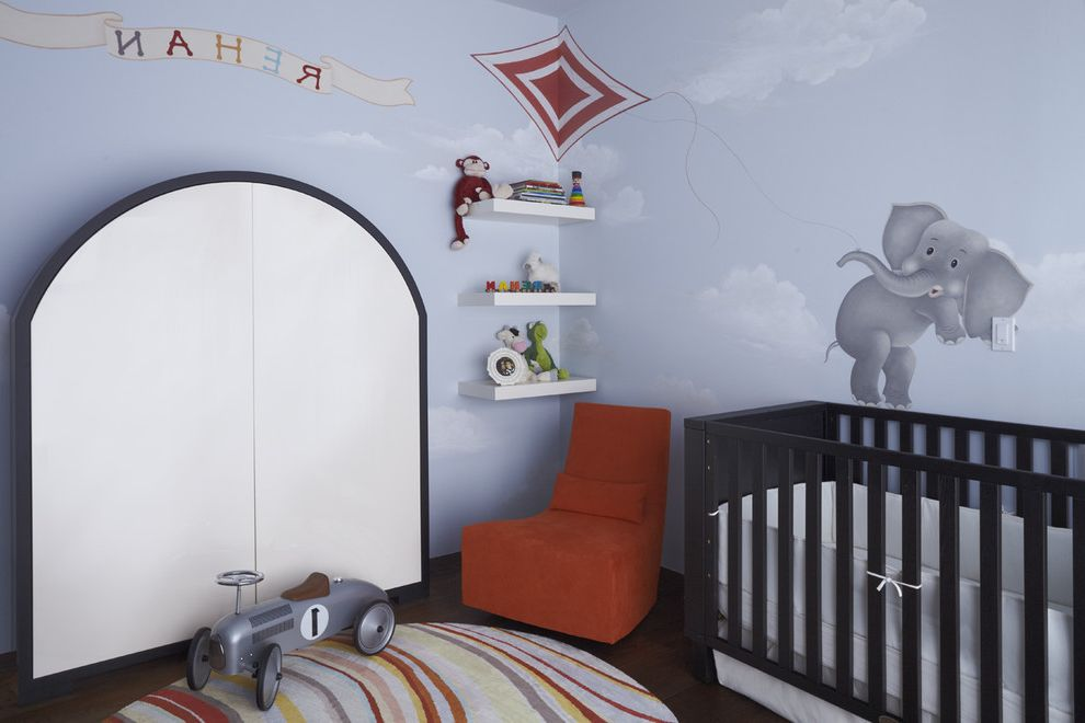 Car Rugs for Toddlers   Contemporary Nursery Also Accent Chair Area Rug Bookshelves Clouds Crib Dark Floor Elephant Floating Shelves Monogram Nursery Round Rug Wall Art Wall Decor Wall Letters Wall Mural Wall Shelves