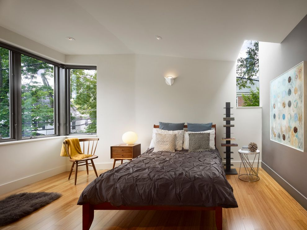 Carbonized Bamboo Flooring   Modern Bedroom Also Accent Wall Bed Bedding Chair Gray Grey Grey Paint Grey Wall Rectangular Window Side Table Skylight Stool Wood Chair Wood Floor