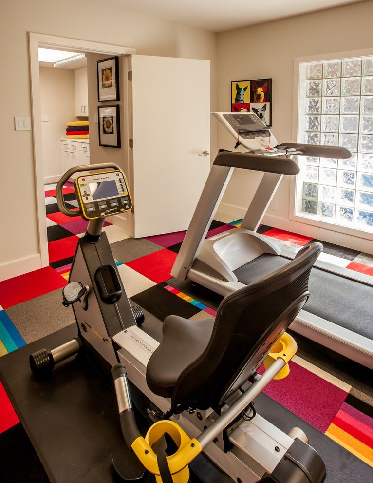 Carpet Tiles Lowes   Contemporary Home Gym  and Black Carpet Carpet Tiles Colorful Carpet Tiles Dog Art Flor Frosted Glass Window Glass Blocks Gray Carpet Home Gym Laundry Room Pop Art Red Carpet Stationary Bike Striped Carpet Treadmill Warhol